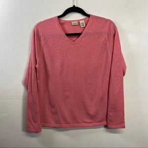 L L Bean Pink Cashmere v-neck sweater